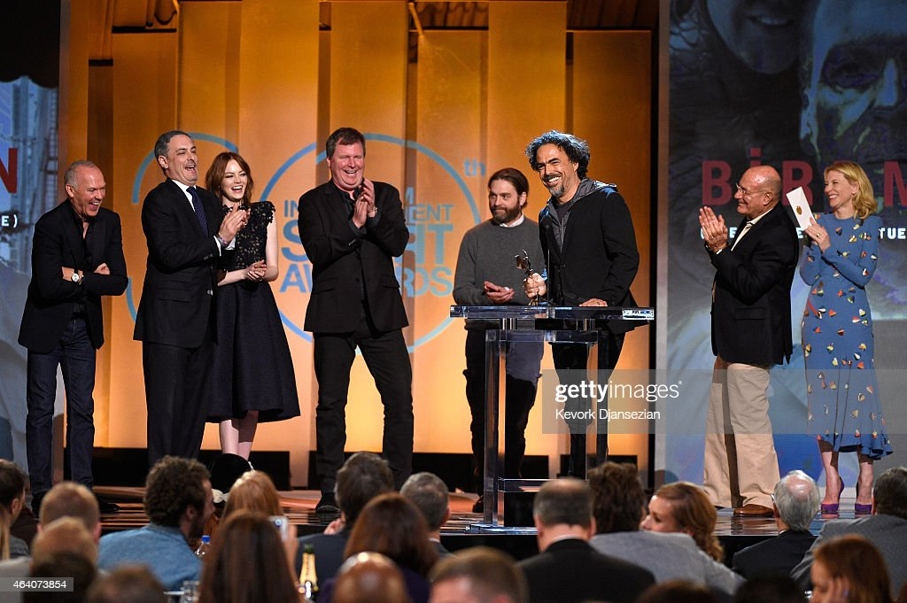 Director Alejandro Gonzalez Inarritu (C) accepts Best Feature for 'Birdman' onstage with actors Michael Keaton, Emma Stone and Zach Galifianakis and producer Arnon Milchan during the 2015 Film Independent Spirit Awards at Santa Monica Beach on February 21, 2015 in Santa Monica, California.