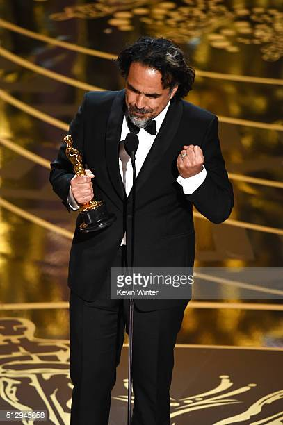 Director Alejandro Gonzalez Inarritu accepts the Best Director award for 'The Revenant' onstage during the 88th Annual Academy Awards at the Dolby...