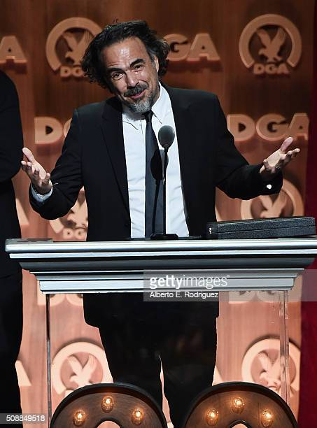 "Director Alejandro Gonzalez Inarritu accepts the Outstanding Directorial Achievement in Feature Film for 2015 award for ""The Revenant"" onstage at the..."