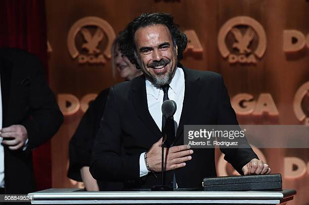 """Director Alejandro Gonzalez Inarritu accepts the Outstanding Directorial Achievement in Feature Film for 2015 award for """"The Revenant"""" onstage at the..."""