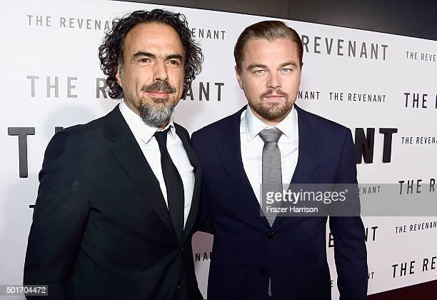 Director Alejandro Gonzalez Inarritu and actor Leonardo DiCaprio arrive at the Premiere of 20th Century Fox and Regency Enterprises' 'The Revenant'...