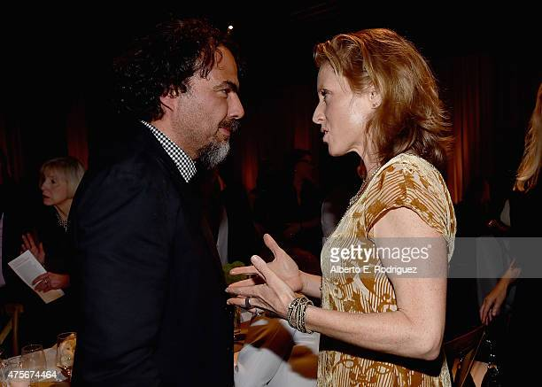 Director Alejandro Gonzalez Inarritu and actress Amy Redford attend the 2015 Sundance Institute Celebration Benefit at 3LABS on June 2 2015 in Culver...