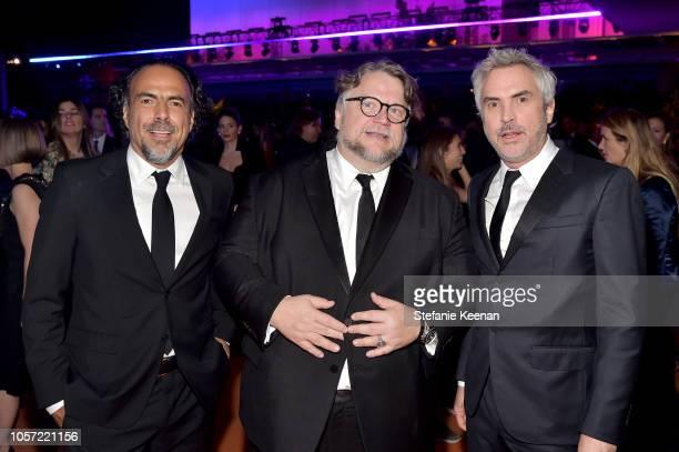 Director Alejandro Gonzalez Inarritu honoree Guillermo del Toro wearing Gucci and director Alfonso Cuaron attend 2018 LACMA Art Film Gala honoring...