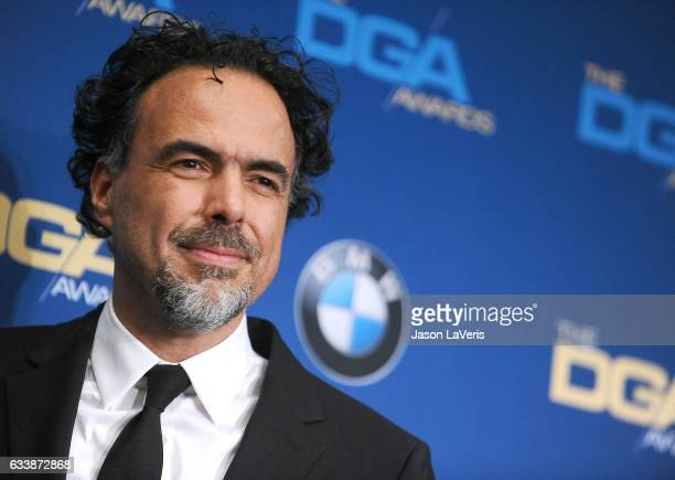 Director Alejandro Gonzalez Inarritu poses in the press room at the 69th annual Directors Guild of America Awards at The Beverly Hilton Hotel on...