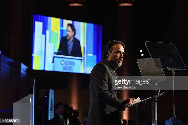 Director Alejandro Gonzalez Inarritu speaks on stage at the 25th IFP Gotham Independent Film Awards cosponsored by FIJI Water at Cipriani Wall Street...