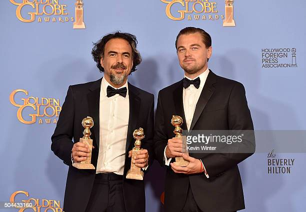 Director Alejandro Gonzalez Inarritu winner of Best Motion Picture and Best Director for 'The Revenant' and actor Leonardo DiCaprio winner of Best...