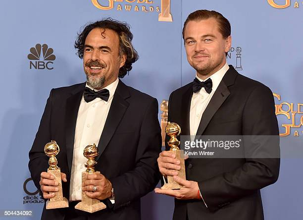 Director Alejandro Gonzalez Inarritu winner of Best Motion Picture Drama and Best Director Motion Picture for 'The Revenant' and actor Leonardo...