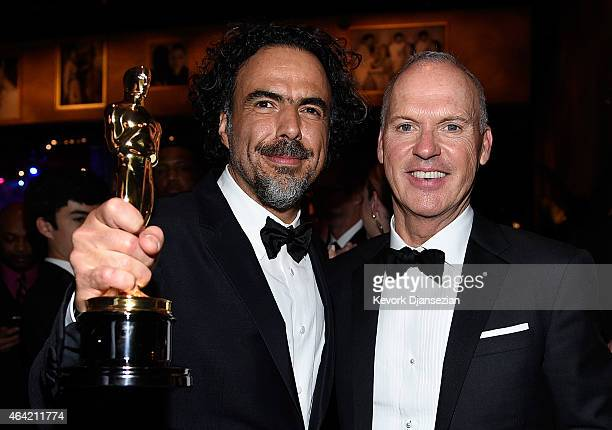 Director Alejandro Gonzalez Inarritu winner of Best Original Screenplay Best Director and Best Motion Picture for 'Birdman' and Actor Michael Keaton...