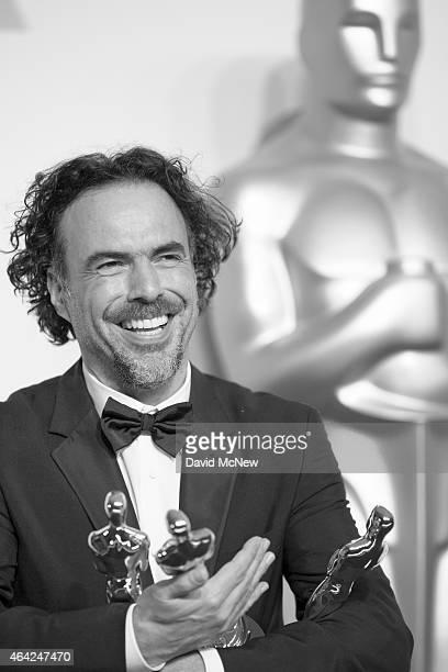 Director Alejandro Gonzalez Inarritu, winner of Best Original Screenplay, Best Director, and Best Motion Picture, for 'Birdman' appears in the press...