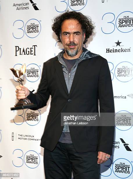 Director Alejandro Gonzalez Inarritu winner of the Best Feature Award for 'Birdman' poses in the press room during the 2015 Film Independent Spirit...