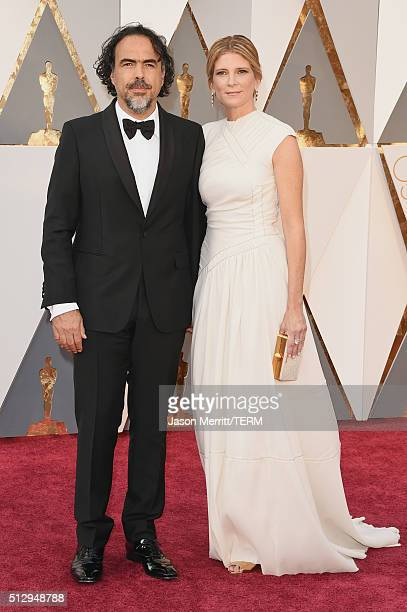 Director Alejandro Inarritu and Maria Eladia Hagerman attends the 88th Annual Academy Awards at Hollywood Highland Center on February 28 2016 in...