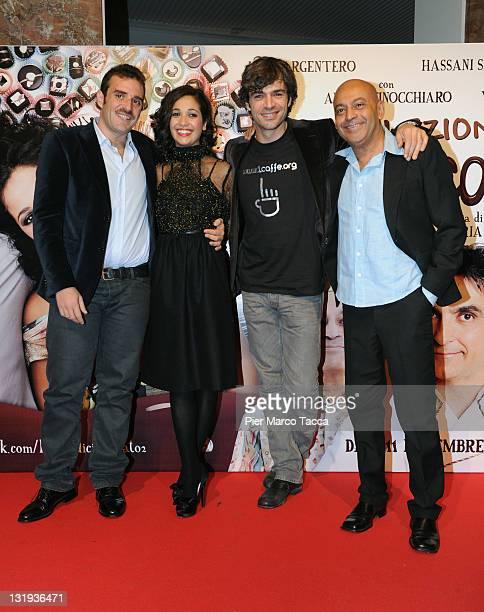 Director Alessio Maria Federici Actress Nabiha Akkari Actor Luca Argentero and Actor Hassani Shapi on November 8 2011 in Milan Italy