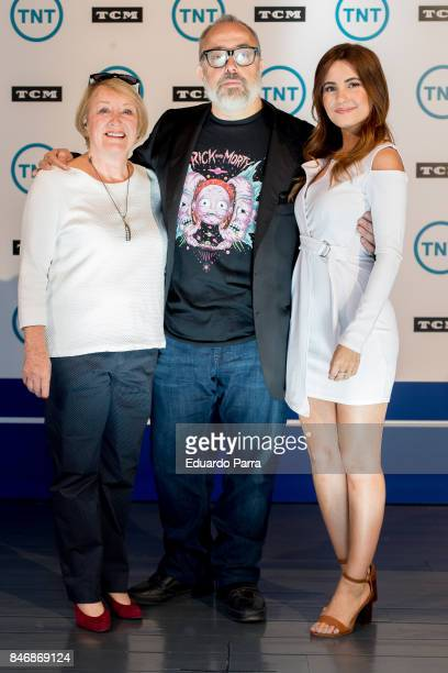 Director Alex de la Iglesia actress Ivana Baquero and Ivonne Blake attend the Tnt and TMC new season presentation at Matadero Madrid on September 14...