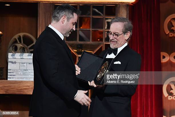 Director Alex Garland accepts the award for Outstanding Directorial Achievement of a FirstTime Feature Film Director for Ex Machina from director...
