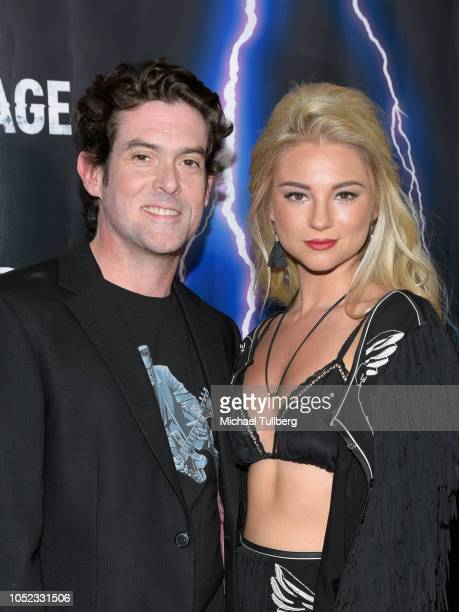 Director Alex Keledjian and actress Allie Gonino attend the premiere of 'High Voltage' at TCL Chinese 6 Theatres on October 16 2018 in Hollywood...