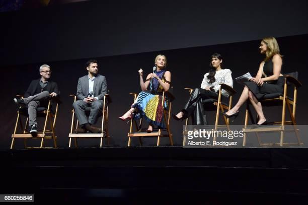 Director Alex Kurtzman actors Jake Johnson Annabelle Wallis Sofia Boutella and moderator Natalie Morales speak onstage at CinemaCon 2017 Universal...