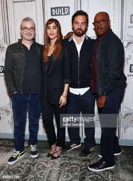 Director Alex Kurtzman poses for photos with actors Sofia Boutella Jake Johnson and Courtney B Vance to discuss 'The Mummy' at Build Studio on June 7...