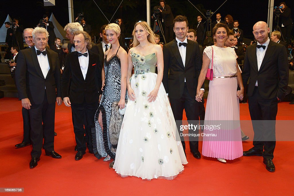Director Alex van Warmerdam, actors Jan Bijvoet, Sara Hjort Ditlevsen, Hadewych Minis, guest, Annet Malherbe and Jeroen Perceval attend the Premiere of 'Borgman' during The 66th Annual Cannes Film Festival at Palais des Festivals on May 19, 2013 in Cannes, France.