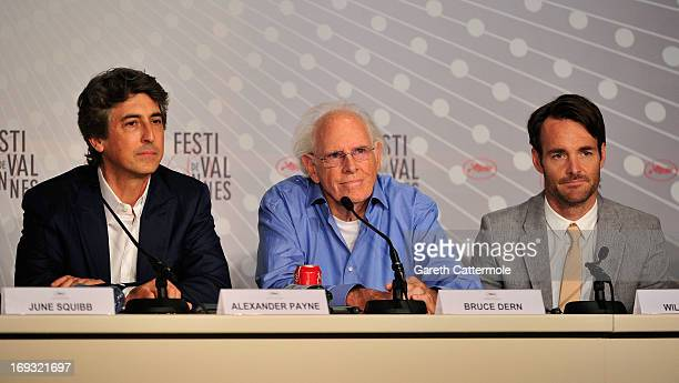 Director Alexander Payne actor Bruce Dern and actor Will Forte attends the 'Nebraska' press conference during The 66th Annual Cannes Film Festival on...