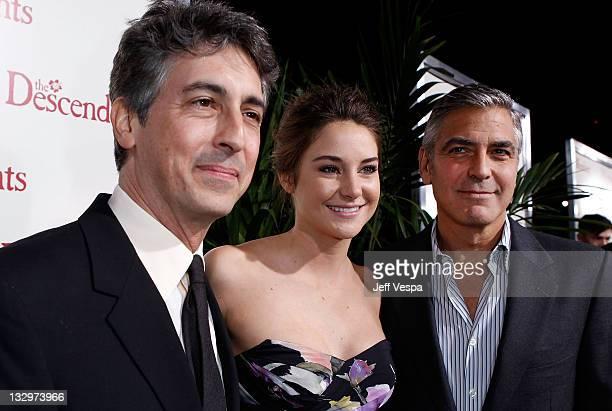 Director Alexander Payne actors Shailene Woodley and George Clooney arrive at The Descendants Los Angeles Premiere at AMPAS Samuel Goldwyn Theater on...