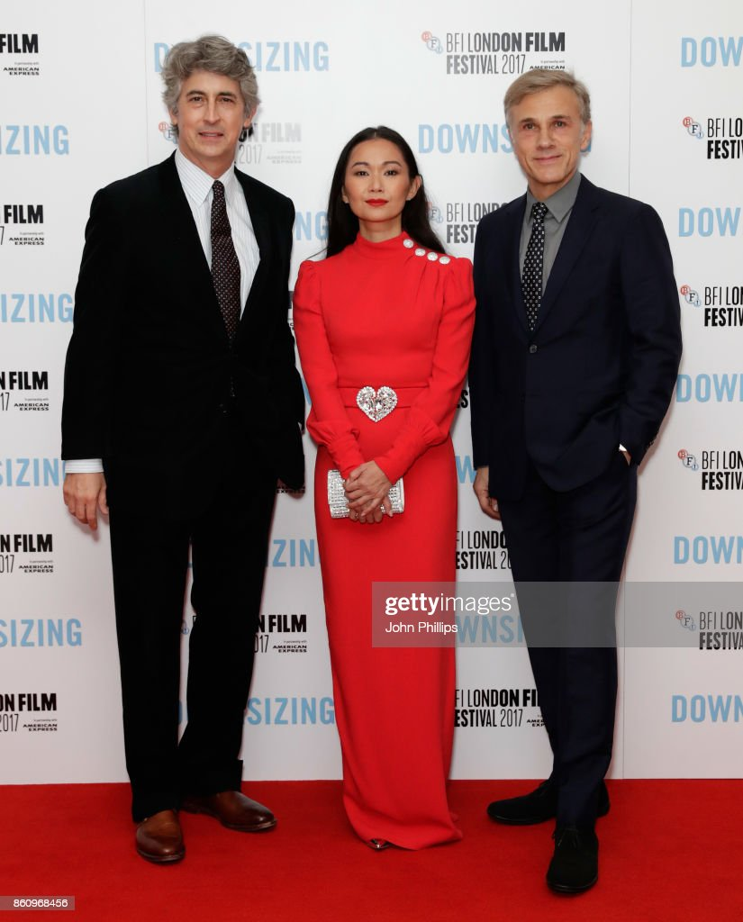 Director Alexander Payne and actors Hong Chau and Christoph Waltz attend the BFI Patron's Gala and UK Premiere of 'Downsizing' during the 61st BFI London Film Festival at the Odeon Leicester Square on October 13, 2017 in London, England.