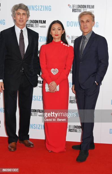 Director Alexander Payne Hong Chau and Christoph Waltz attend the BFI Patron's Gala UK Premiere of 'Downsizing' during the 61st BFI London Film...