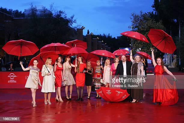 Director Alexey Fedorchenko and cast attend the 'Celestial Wives of Meadow Mari' Premiere during the 7th Rome Film Festival at the Auditorium Parco...