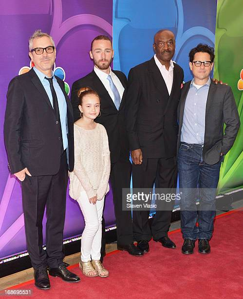 Director Alfonso Cuaron actors Johnny Sequoyah Jake McLaughlin Delroy Lindo and director/producer JJ Abrams attend 2013 NBC Upfront Presentation Red...