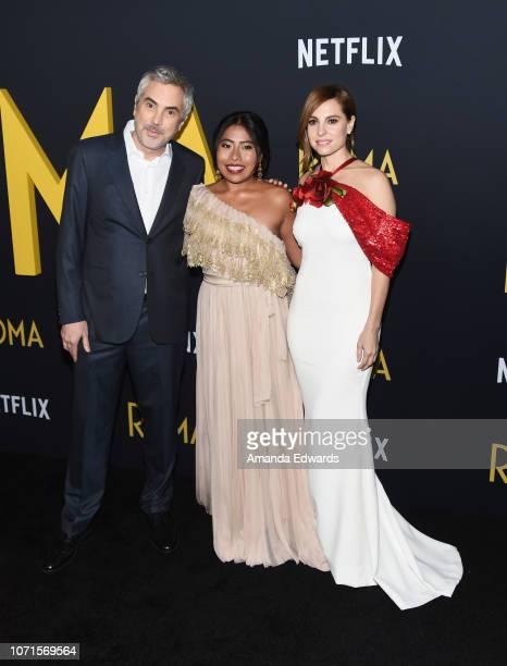Director Alfonso Cuaron and actresses Yalitza Aparicio and Marina de Tavira arrive at the Los Angeles Premiere of Alfonso Cuaron's 'Roma' at American...
