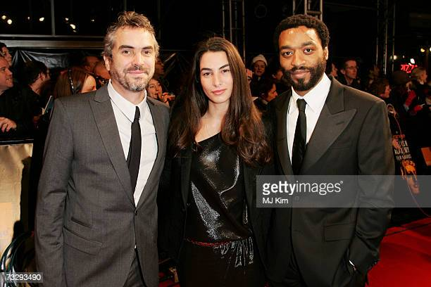 Director Alfonso Cuaron his wife Annalisa Bugliani and actor Chiwetel Ejiofor arrive at the Orange British Academy Film Awards at the Royal Opera...