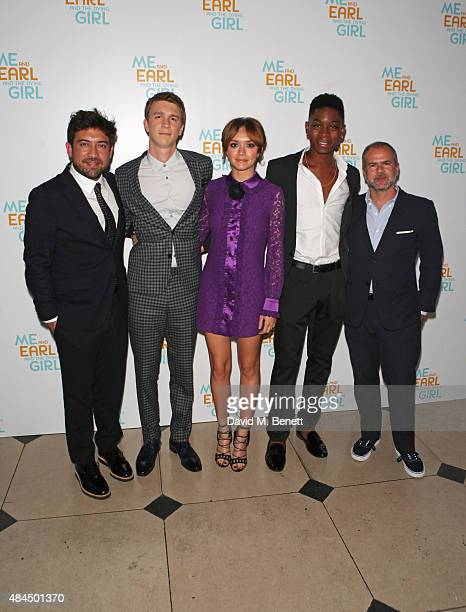 Director Alfonso GomezRejon Thomas Mann Olivia Cooke RJ Cyler and producer Jeremy Dawson attend the UK Premiere of 'Me And Earl And The Dying Girl'...