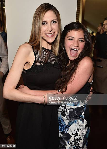 Director Ali Scher and actress Eva Bella attend the premiere of Marvista Entertainment's 'Jessica Darling's It List' at the Landmark Theater on June...