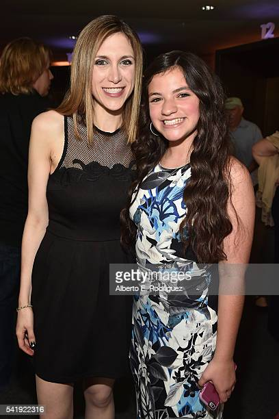 Director Ali Scher and Eva Bella attend the premiere of Marvista Entertainment's 'Jessica Darling's It List' at the Landmark Theater on June 20 2016...