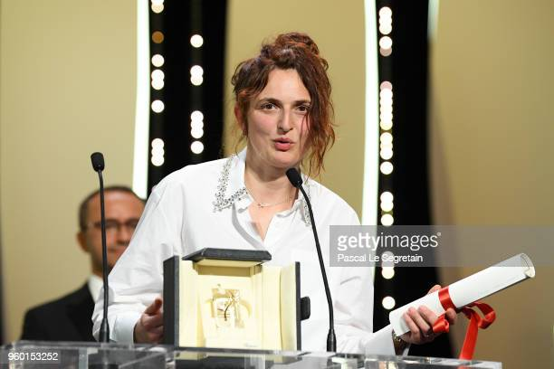 Director Alice Rohrwacher receives the the Best Screenplay award for Happy As Lazzaro during the closing ceremony of the 71st annual Cannes Film...