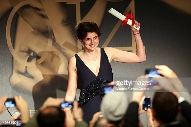 Director Alice Rohrwacher winner of The Grand Prix for her film 'The Wonders' attends the Palme D'Or Winners press conference at the 67th Annual...