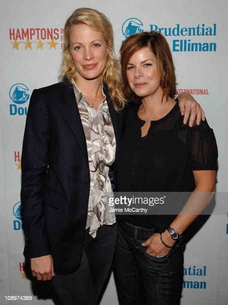 Director Alison Eastwood and Marcia Gay Harden arrive at the Hamptons Film Festival Screening Rails Ties Red Carpet at the United Artists Theater in...