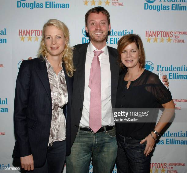 Director Alison Eastwood David Nugent and Marcia Gay Harden arrive at the Hamptons Film Festival Screening Rails Ties Red Carpet at the United...