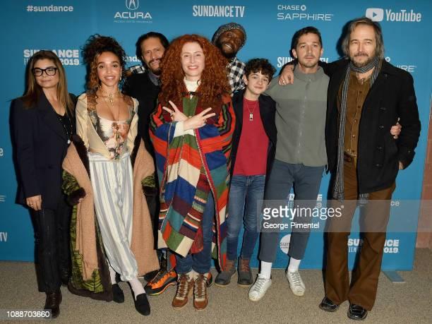 Director Alma Har'el poses with actors Laura San Giacomo FKA Twigs Clifton Collins Jr Byron Bowers Noah Jupe Shia LaBeouf and Craig Stark at the...