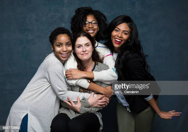 Director Amanda Lipitz and step team members Tayla Solomon Cori Granger and Blessin Giraldo from the documentary film STEP are photographed at the...