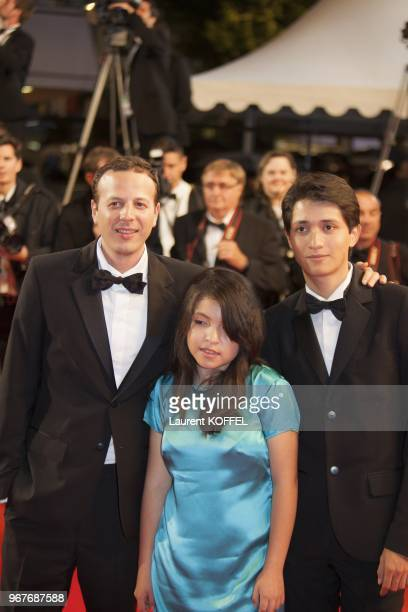 Director Amat Escalante actress Andrea Vergara and actor Armando Espitia attend the 'Heli' Premiere during the 66th Annual Cannes Film Festival at...