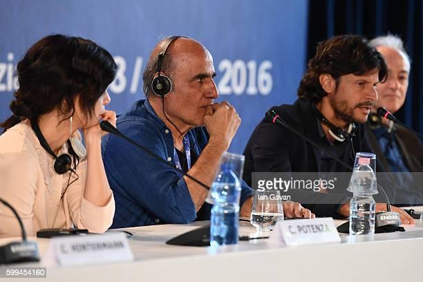 Director Amir Naderi speaks as Claudia Potenza Andrea Sartoretti and cinematographer Roberto Cimatti look on during the press conference for...