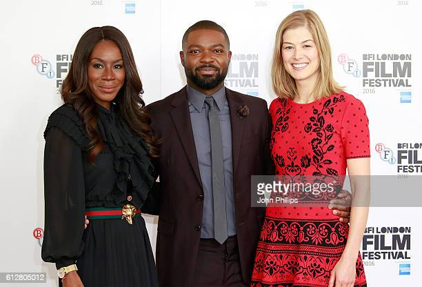 Director Amma Asante and actors David Oyelowo and Rosamund Pike attend the 'A United Kingdom' photocall during the 60th BFI London Film Festival at...