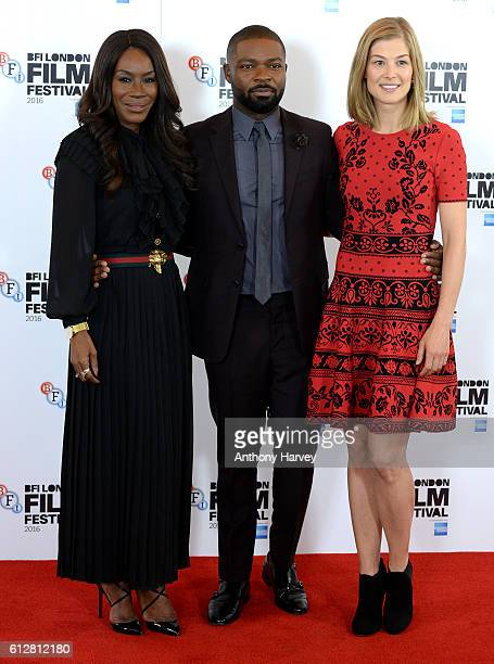 Director Amma Asante David Oyelowo and Rosamund Pike attend the 'A United Kingdom' photocall during the 60th BFI London Film Festival at The Mayfair...
