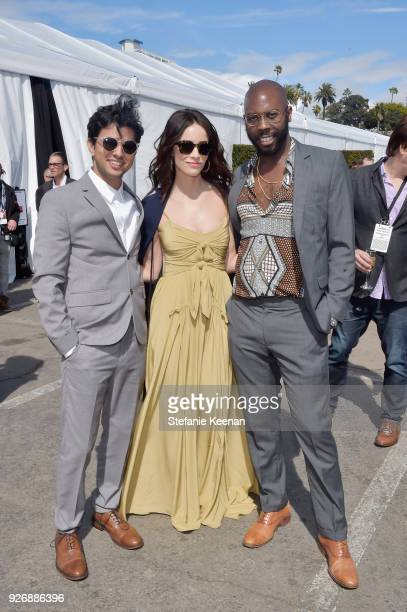 Director Amman Abbasi, actor Abigail Spencer, and writer Steven Reneau celebrated with a Bulleit cocktail at the Bulleit Frontier Works Whiskey...