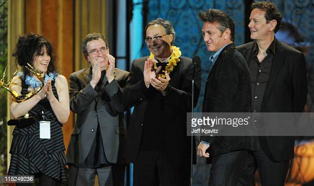 Director Amy Heckerling and actors Brian Backer Robert Romanus Sean Penn and Judge Reinhold accept an award onstage during Spike TV's 5th annual 2011...