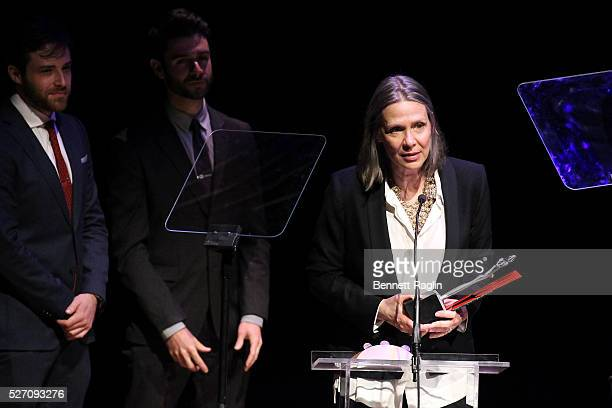 Director Amy Morton accepts an award onstage during the 31st Annual Lucille Lortel Awards at NYU Skirball Center on May 1 2016 in New York City