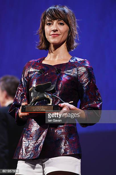 Director Ana Lily Amirpour receives the Special Jury Prize for 'The Bad Batch' during the closing ceremony of the 73rd Venice Film Festival at Sala...