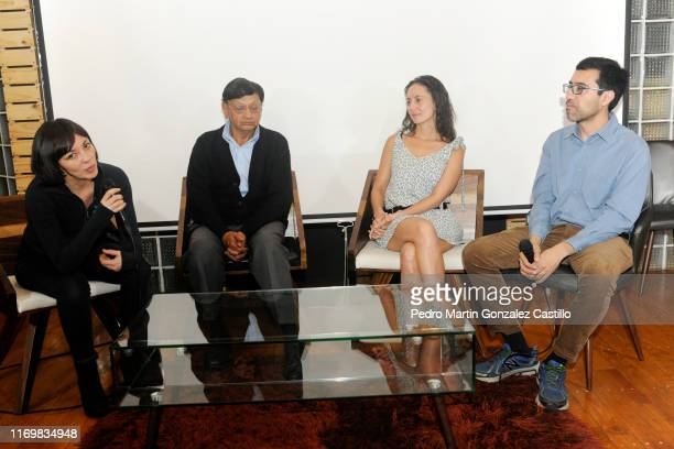 Director Ana Pascoe Franco Legarreta Andrea Barbier and director/screenwriter Gabriel Reyes speak during the premiere of the film La Fundacion de...