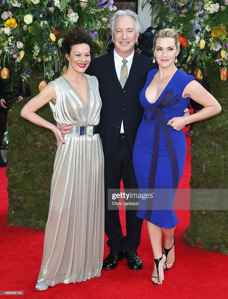 Director and actor Alan Rickman poses with actress Kate Winslet and actress Helen McCrory as they attend the UK premiere of 'A Little Chaos' at ODEON Kensington on April 13, 2015 in London, England.