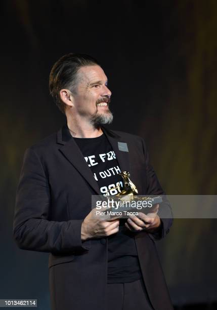 Director and Actor Ethan Hawke receives Excellence Award during the 71st Locarno Film Festival on August 8 2018 in Locarno Switzerland